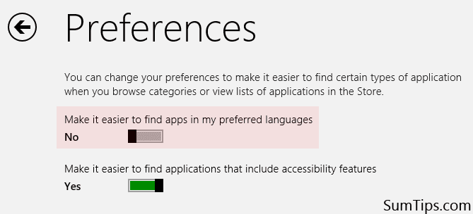 Windows Store Preference