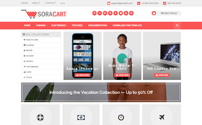 Sora cart blogger template responsive  ecommerce