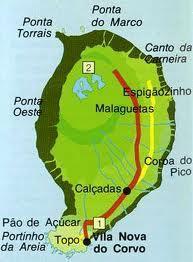 mapa corvo Núcleo Filatélico de Angra do Heroísmo: A Ilha do Corvo mapa corvo