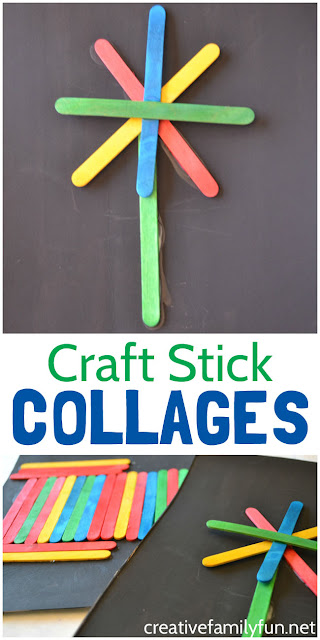 Use colored craft sticks to make a pretty collage that stands out on its black background with this fun kids art project.