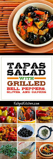 Tapas Salad with Grilled Bell Peppers, Olives, and Capers found on KalynsKitchen.com