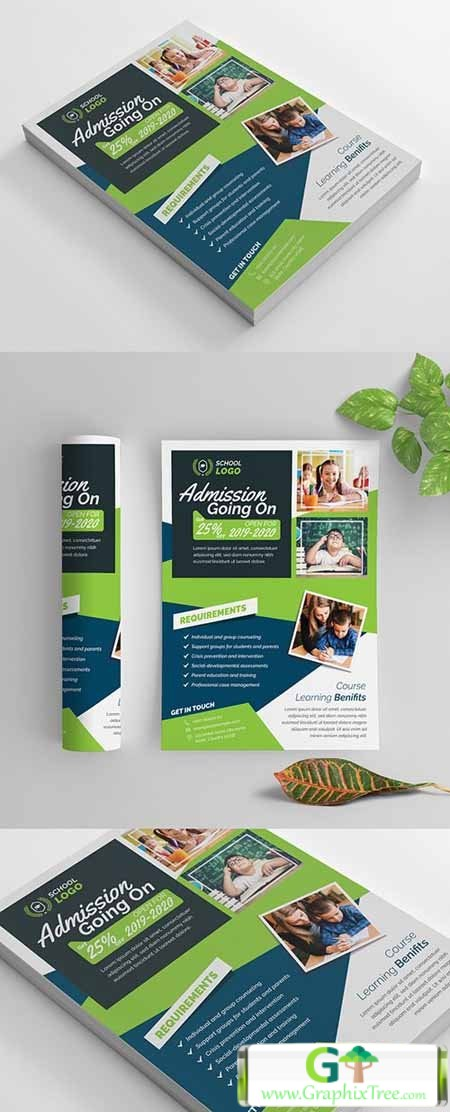 School Flyer Layout with Blue and Green Accents 269583871