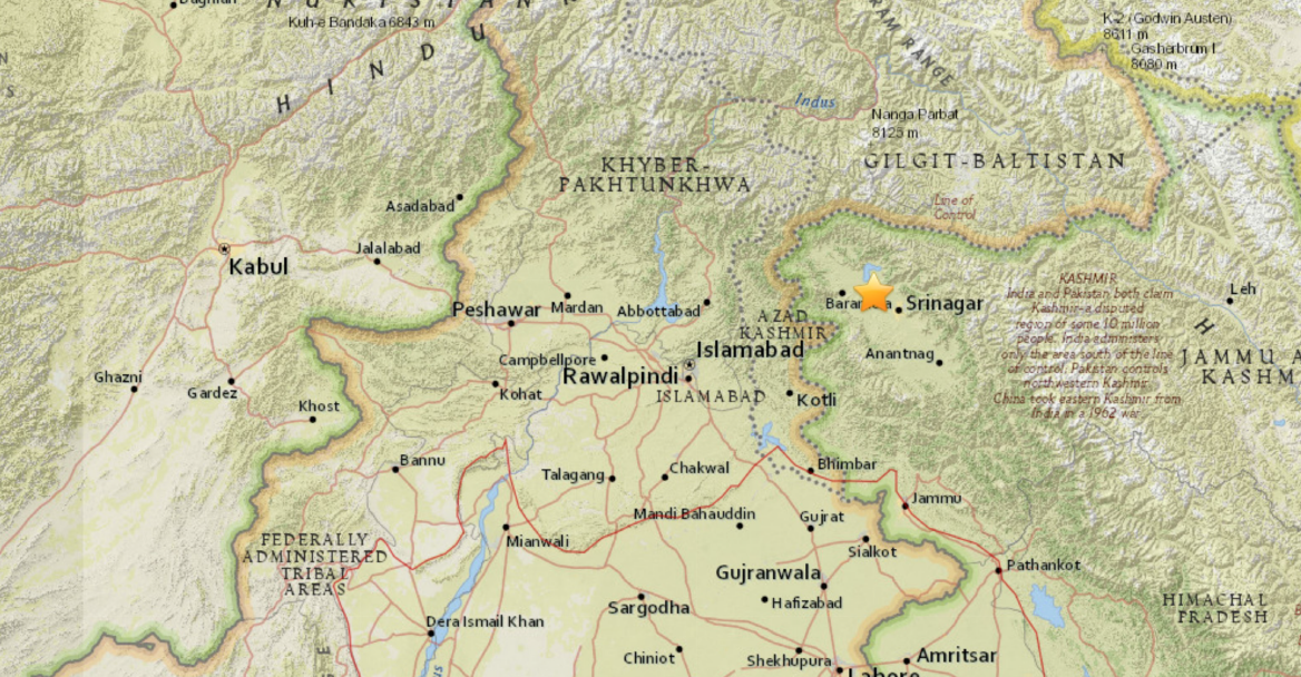 Sciency thoughts magnitude 46 earthquake in jammu and kashmir the approximate location of the 23 september 2017 jammu and kashmir earthquake usgs publicscrutiny Image collections