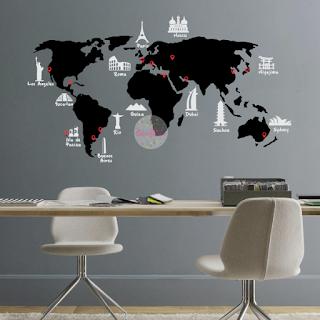 vinilo decorativo mapamundi planisferio monumentos ciudades pared