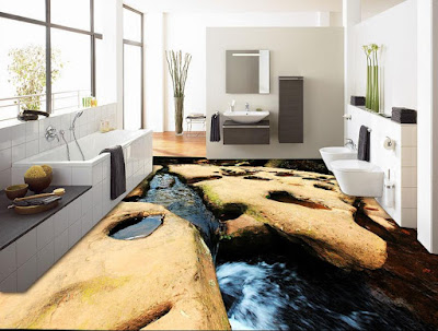creative bathroom floor murals in 3d with deep down water