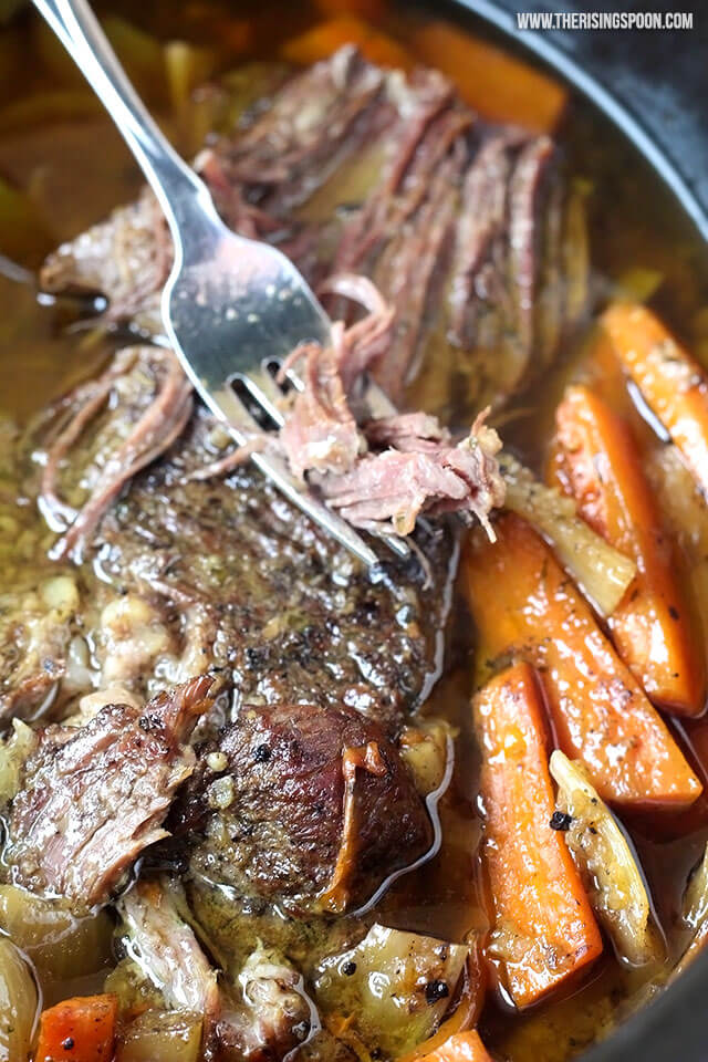 Slow Cooker Pot Roast With Homemade Onion Soup Mix Video The Rising Spoon