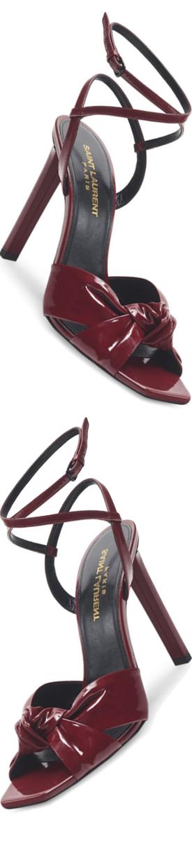 Saint Laurent Amy Patent Leather Bow Ankle-Strap Sandals