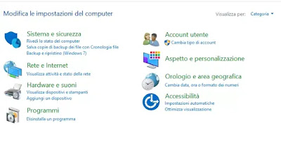 menù configurazione windows