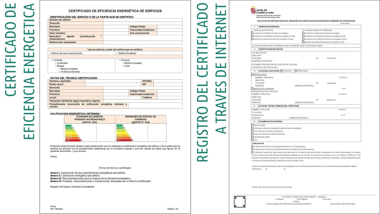certificado energetico y registro