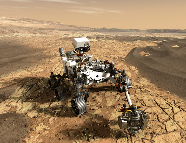 An artist's concept of the Perseverance rover studying the surface of Mars.