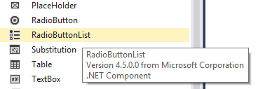 RadioButtonList in Toolbox