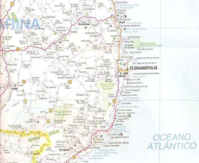 Mapa rodoviário da região de Florianópolis
