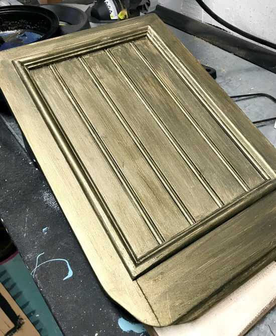 Bronze painted cabinet door