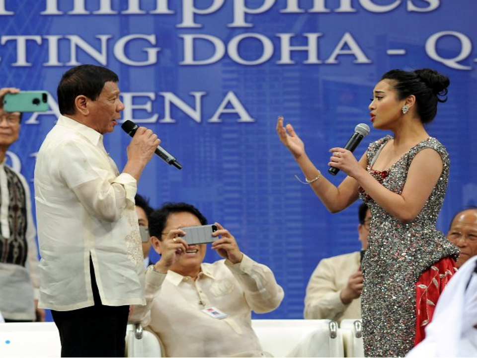 Nearly 7,000 adoring Filipinos applauded Philippine President Rodrigo R. Duterte as he delivered an hour-long impassioned speech punctuated with humour which was interrupted with countless ovations in the evening at Lusail Multipurpose Hall.  President Rodrigo Duterte nearly stumbled on Saturday as he tried to maintain his balance when some unidentified and overexcited Filipino worker accidentally pulled him as he was shaking hands inside the Lusail Sports Arena.  The president's guards, Cabinet secretaries, and even the Qatari royal guards rushed to Duterte's aid.