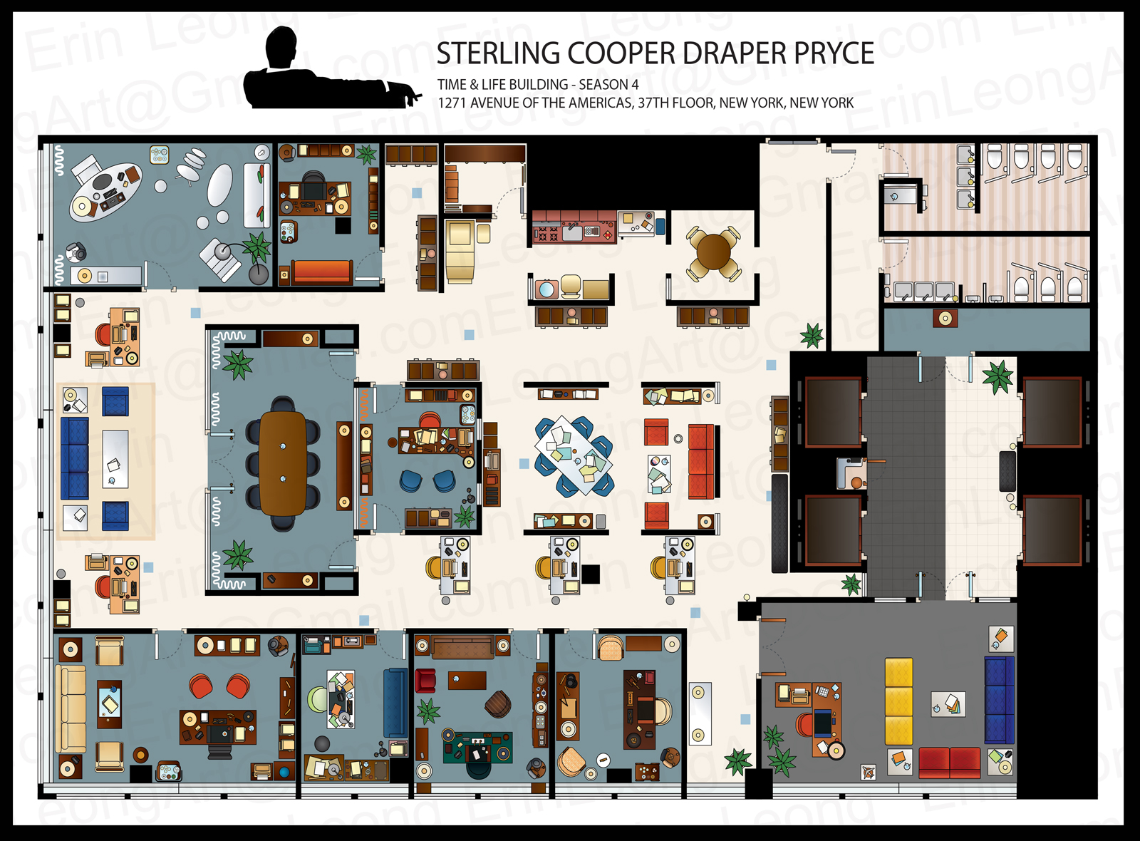 Don Draper Office Erin Leong Illustrated Floorplans For The Big Bang Theory