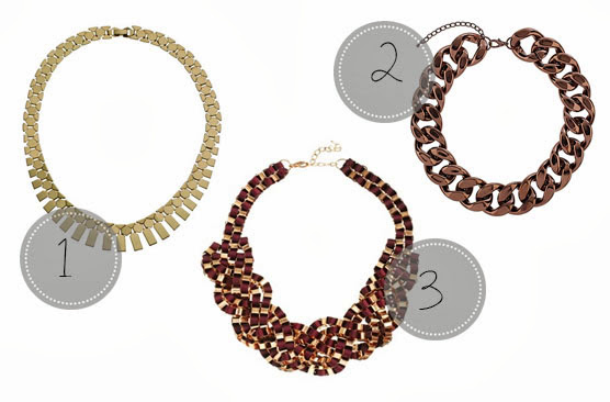 ASOS Just Acces Eda Ribbon Box Chain Collar, Accessorize Slinky Flat Chain Necklace, Topshop Chocolate Chain Necklace
