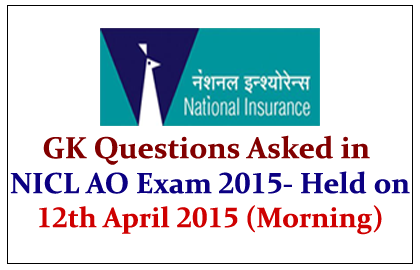 GK Questions Asked in NICL AO