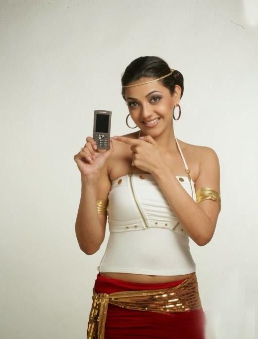 Kajal Agarwal Latest Navel Show In Mobile Ad Shoot Gallery