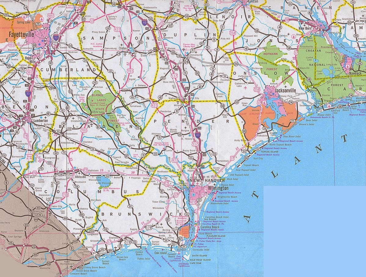 Image result for map of wilmington nc and surrounding areas