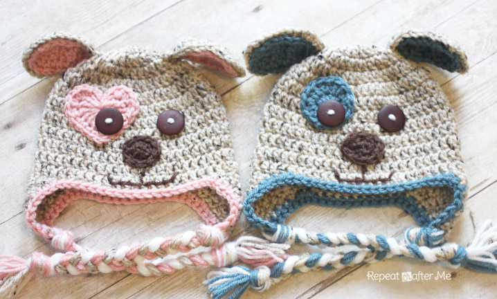 Want to make a puppy love hat  Crochet a heart instead of a circle for the  eye patch. I followed THIS free heart pattern but stopped after round 2. 7798581f9ad