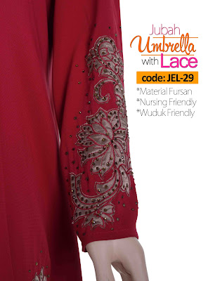 Jubah Umbrella Lace JEL-29 Red Tangan 2