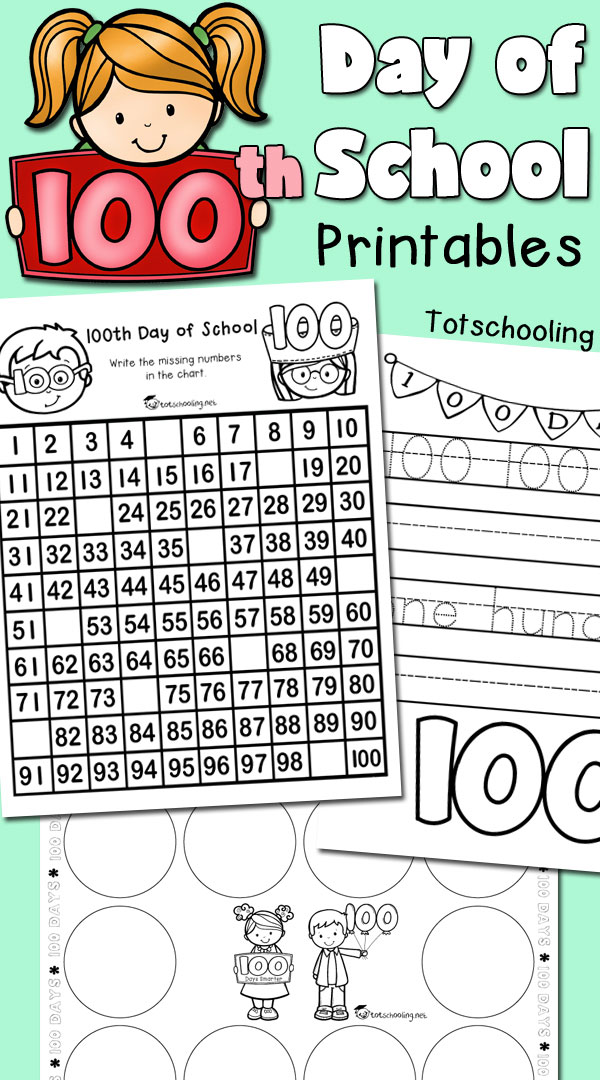 FREE worksheets for 100th day of school for kindergarten and preschool, featuring 100 chart with missing numbers, 100 snack sorting, tracing, writing and drawing prompts.