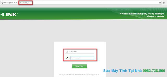 Giao diện đăng nhập bộ phát TPLink 940