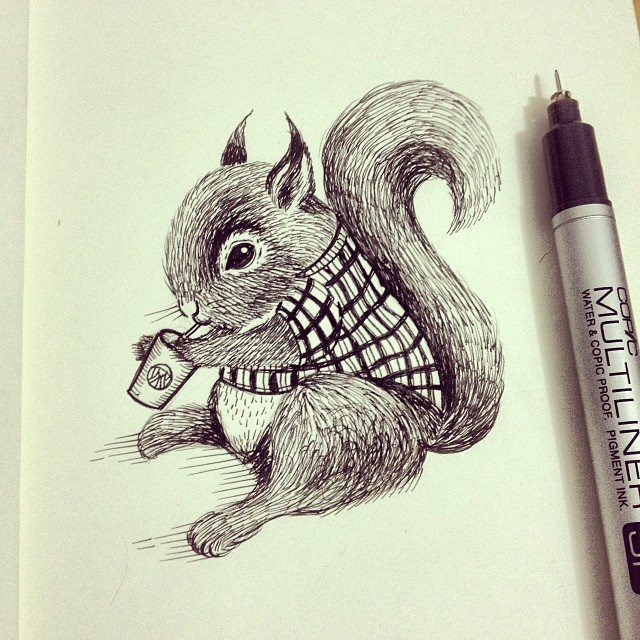 15-Baby-Squirrel-Thiago-Bianchini-Eclectic-Collection-of-Drawings-and-Illustrations-www-designstack-co