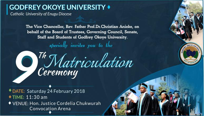 Godfrey Okoye University Matriculation Ceremony