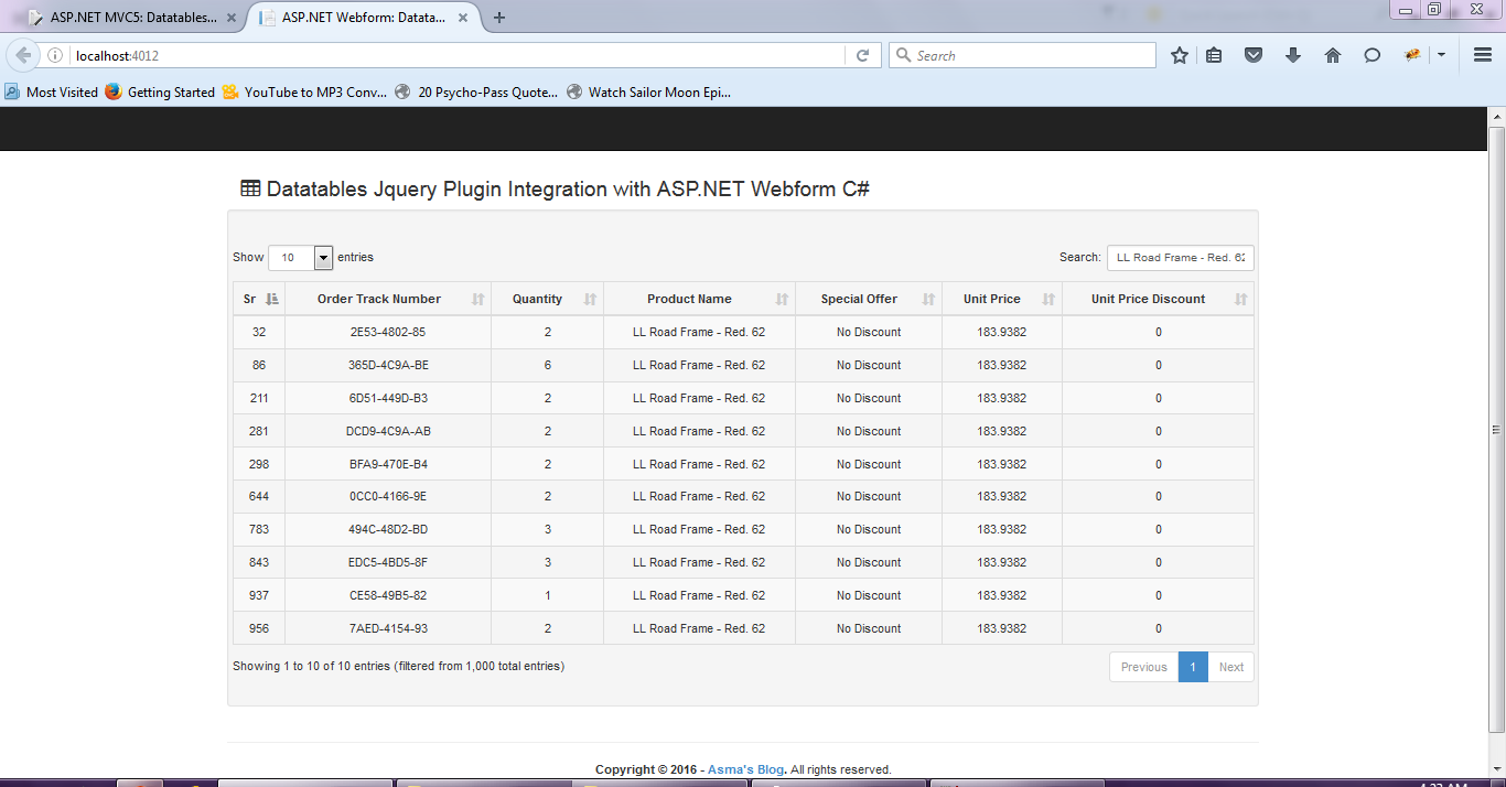 ASP NET Webform: Datatables Jquery plugin Server Side Integration