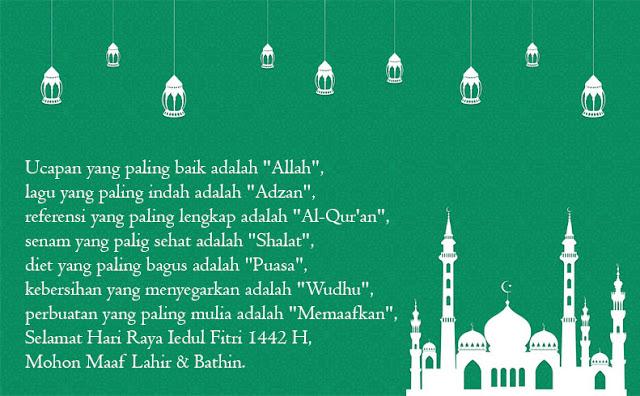 Kumpulan Ucapan Selamat Hari Raya Idul Fitri 1442 H 2021 Masehi