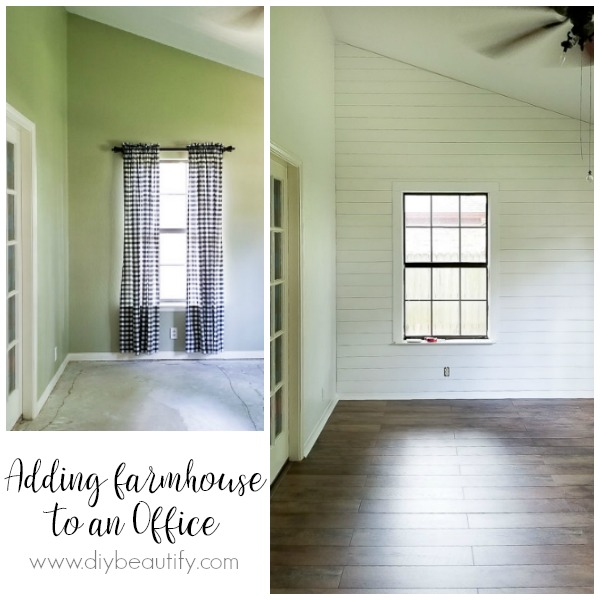 farmhouse floors and shiplap wall before and after