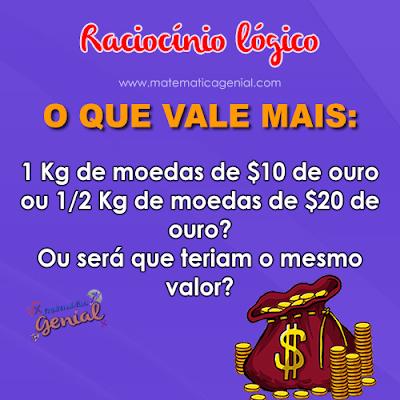 O que vale mais: 1 Kg de moedas de $10 de ouro ou 1/2 Kg de moedas...