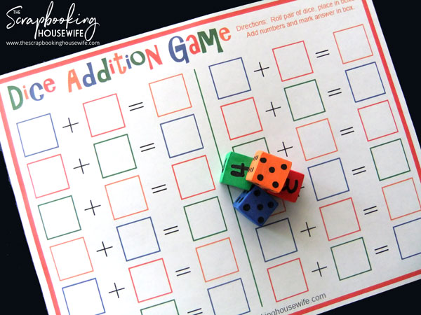 Dice Addition Math Game for Kids Free Printable