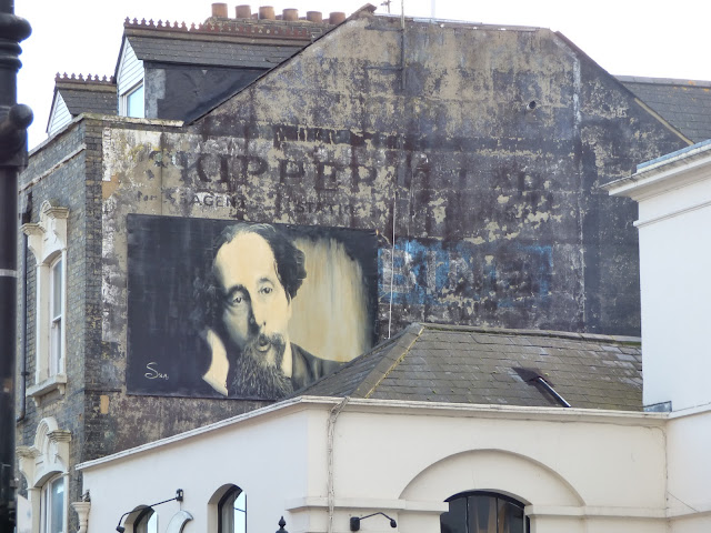 Ghostsign and Charles Dickens mural on Rochester High Street, Kent