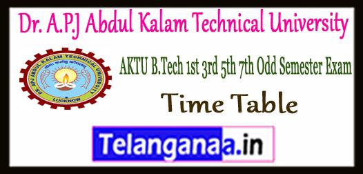AKTU Dr. A.P.J Abdul Kalam Technical University 1st-3rd-5th-7th Semester Main Back Exam Time Table 2017