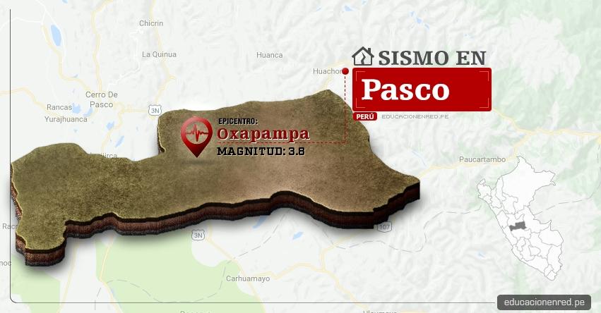 Temblor en Pasco de 3.8 Grados (Hoy Viernes 28 Abril 2017) Sismo EPICENTRO Oxapampa - Puerto Bermúdez - Pozuzo - Villa Rica - Huancabamba - Chontabamba - IGP - www.igp.gob.pe