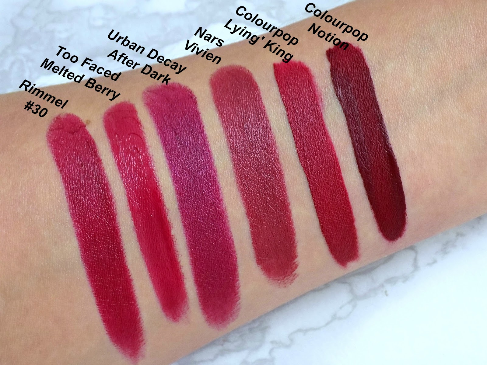 berry lipsticks swatches