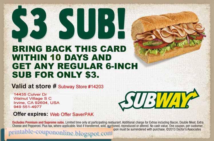 Subway online coupon  Actual Discounts