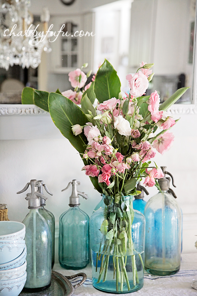 vintage jar with lisianthus