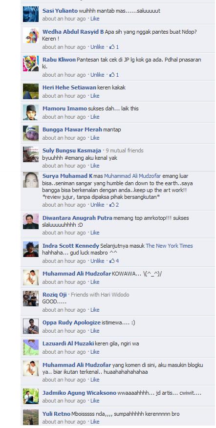Komentar Facebook tentang dzofar yang masuk koran Jawa Pos