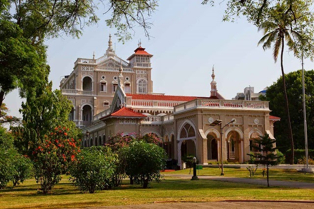 Front view of the Aga Khan Palace  IMAGES, GIF, ANIMATED GIF, WALLPAPER, STICKER FOR WHATSAPP & FACEBOOK