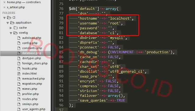 mengatur koneksi database CodeIgniter