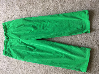 green corduroy pants with two pleats sewn at home