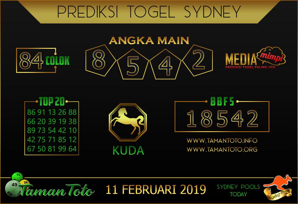 Prediksi Togel SYDNEY TAMAN TOTO 11 FEBRUARI 2019