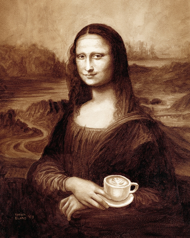 01-Leonardo-da-Vinci-Mona-Lisa-Karen-Eland-Coffee-and-Water-Recreate-Famous-Paintings-with-a-Difference-www-designstack-co