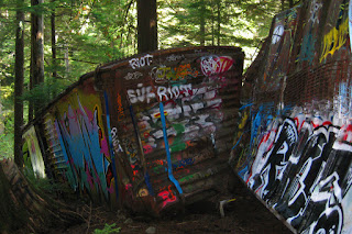 Wrecked PGE boxcars, Whistler train wreck, BC British Columbia