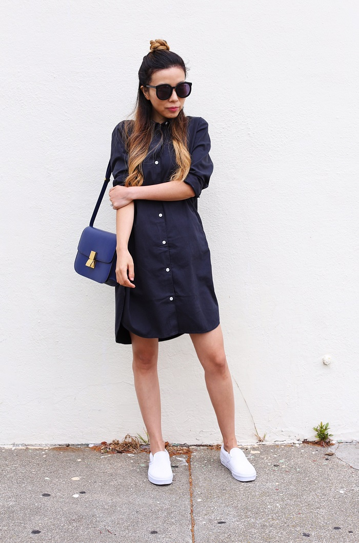 Everlane tweed shirt dress, black shirt dress, karen walker super duper sunglasses, celine classic box bag, vans slip on, how to rock black shirt dress, everlane outfit