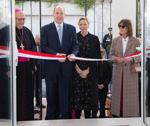 Princess Charlene wore Polo Ralph Lauren floral georgette dress. Princess Caroline of Hanover wore Prada wool-blend coat