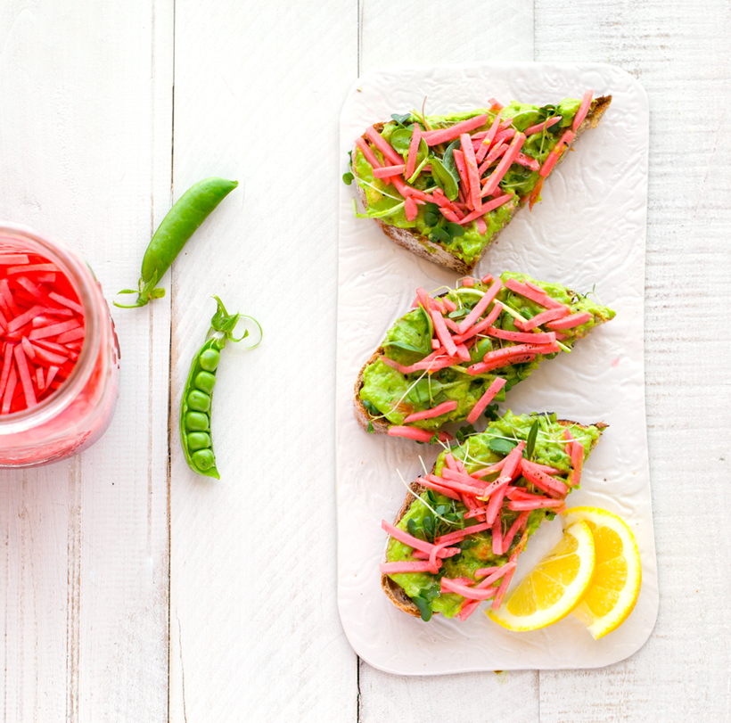 Spring Pea Avocado Toast with Easy Pickled Radishes